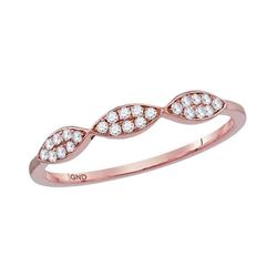 1/8 CTW Womens Round Diamond Oval Cluster Stackable Band Ring 10kt Rose Gold - REF-17H3R