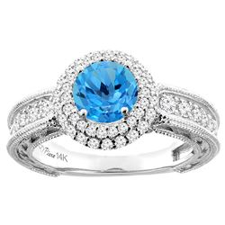 1.50 CTW Swiss Blue Topaz & Diamond Ring 14K White Gold - REF-91F8N