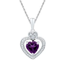 3/4 CTW Womens Heart Lab-Created Amethyst Heart & Diamond Pendant 10kt White Gold - REF-6R7X