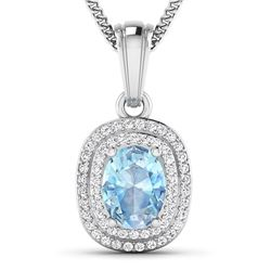 Natural 2.36 CTW Aquamarine & Diamond Pendant 14K White Gold - REF-47F2N