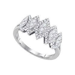 1/2 CTW Womens Round Diamond Oval Cluster Fashion Ring 14kt White Gold - REF-60X2T