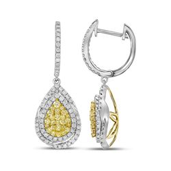 1 & 1/2 CTW Womens Round Yellow Diamond Teardrop Dangle Earrings 14kt White Gold - REF-156W7H