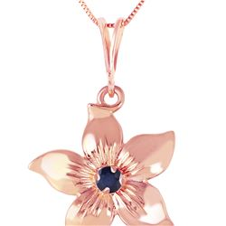 Genuine 0.10 CTW Sapphire Necklace 14KT Rose Gold - REF-38F6Z