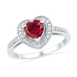 1 CTW Womens Round Lab-Created Ruby Heart Ring 10kt White Gold - REF-25T3V