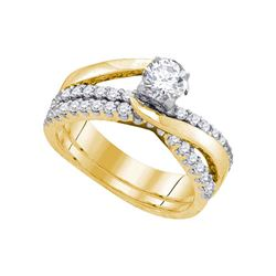 1 CTW Round Diamond Elevated Bridal Wedding Ring 14kt Yellow Gold - REF-177R3X