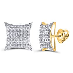 1/3 CTW Mens Round Diamond Square Kite Cluster Stud Earrings 10kt Yellow Gold - REF-23Y3N
