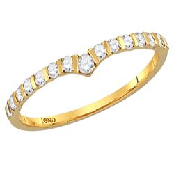 1/4 CTW Womens Round Diamond Chevron Stackable Band Ring 14kt Yellow Gold - REF-26X5T