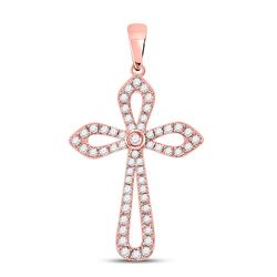 1/3 CTW Womens Round Diamond Gothic Cross Pendant 10kt Rose Gold - REF-23N3A