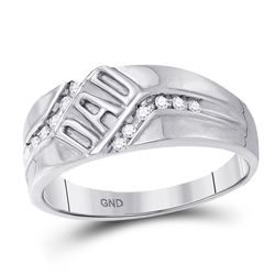 1/8 CTW Mens Round Diamond Dad Father Band Ring 10kt White Gold - REF-19H6R