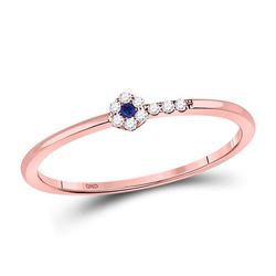 1/12 CTW Womens Round Blue Sapphire Diamond Stackable Band Ring 10kt Rose Gold - REF-10X9T