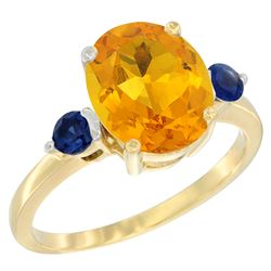 2.64 CTW Citrine & Blue Sapphire Ring 14K Yellow Gold - REF-32W3F