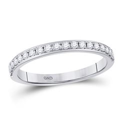 1/4 CTW Womens Round Diamond Wedding Single Row Band Ring 14kt White Gold - REF-29X5T