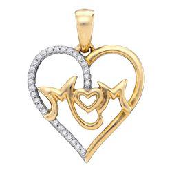 1/10 CTW Womens Round Diamond Mom Mother Heart Pendant 10kt White Gold - REF-15F2W