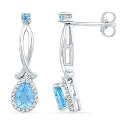 1 CTW Womens Pear Lab-Created Blue Topaz Diamond Dangle Earrings 10kt White Gold - REF-20N5A