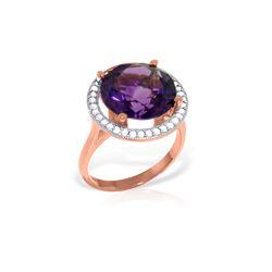 Genuine 6.2 ctw Amethyst & Diamond Ring 14KT Rose Gold - REF-91Z4N