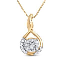 1/10 CTW Womens Round Diamond Cluster Pendant 10kt Yellow Gold - REF-10W9H
