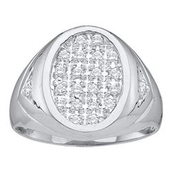 1/4 CTW Mens Round Diamond Oval Cluster Ring 14kt White Gold - REF-41X5T