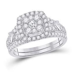 1 CTW Round Diamond Bridal Wedding Ring Band Set 10kt White Gold - REF-78A5M