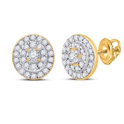 1/3 CTW Womens Round Diamond Oval Earrings 10kt Yellow Gold - REF-30N7A