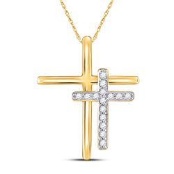 1/10 CTW Womens Round Diamond Double Cross Pendant 10kt Yellow Gold - REF-8T9V