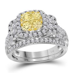 1 CTW Womens Round Yellow Diamond Cluster Bridal Wedding Ring 14kt White Gold - REF-119F2W