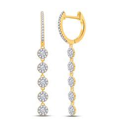 5/8 CTW Womens Round Diamond Dangle Earrings 10kt Yellow Gold - REF-40X8T