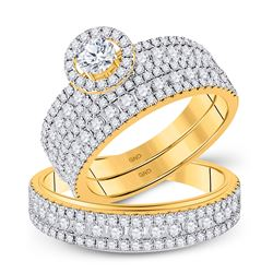 2 CTW His Hers Round Diamond Halo Matching Wedding Set 14kt Yellow Gold - REF-231H7R