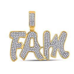 1 CTW Mens Round Diamond Fam Charm Pendant 10kt Yellow Gold - REF-87V2Y