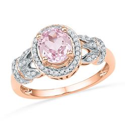 1 CTW Womens Oval Morganite Diamond Solitaire Ring 10kt Rose Gold - REF-49A6M