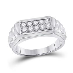 1/2 CTW Mens Round Diamond Ribbed Flat Top Band Ring 10kt White Gold - REF-63A5M