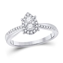 1/4 CTW Womens Round Diamond Cluster Pear Promise Ring 10kt White Gold - REF-34N3A