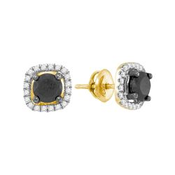 1 & 7/8 CTW Womens Round Black Color Enhanced Diamond Solitaire Earrings 10kt Yellow Gold - REF-61T4
