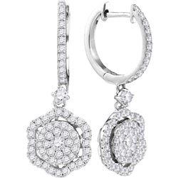 1 CTW Womens Round Diamond Hexagon Frame Cluster Dangle Earrings 14kt White Gold - REF-88A5M