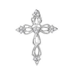 1/6 CTW Womens Round Diamond Heart Cross Religious Pendant 10kt White Gold - REF-10R9X