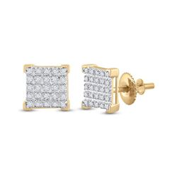 1/6 CTW Mens Round Diamond Square Earrings 10kt Yellow Gold - REF-13F5W