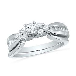 1/2 CTW Round Diamond Bridal Wedding Ring 10k White Gold - REF-47W6H
