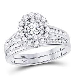 1 CTW Round Diamond Bridal Wedding Ring 14kt White Gold - REF-102V3Y