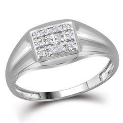 1/8 CTW Mens Round Diamond Square Cluster Ring 10kt White Gold - REF-19F6W