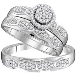 1/3 CTW His Hers Round Diamond Cluster Matching Wedding Set 10kt White Gold - REF-40Y8N