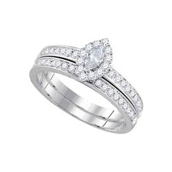 5/8 CTW Marquise Diamond Bridal Wedding Ring 14kt White Gold - REF-98N9A