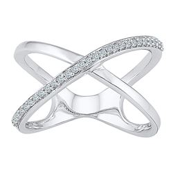 1/6 CTW Womens Round Diamond Open Crossover Band Ring 10kt White Gold - REF-25H9R