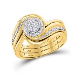 1/6 CTW Diamond Cluster Bridal Wedding Ring 10kt Yellow Gold - REF-37Y5N