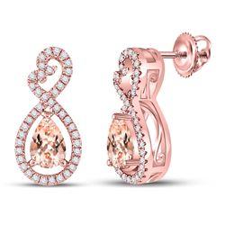 1 CTW Womens Pear Morganite Fashion Earrings 10kt Rose Gold - REF-50X4T