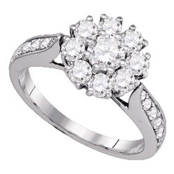 1 & 1/2 CTW Round Diamond Cluster Bridal Wedding Engagement Ring 14kt White Gold - REF-192A8M