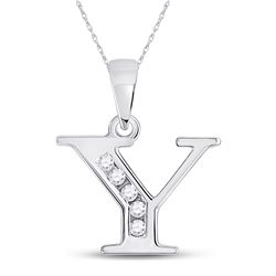 1/20 CTW Womens Round Diamond Y Initial Letter Pendant 10kt White Gold - REF-8W9H