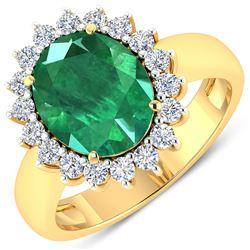 Natural 3.68 CTW Zambian Emerald & Diamond Ring 14K Yellow Gold - REF-157X3K