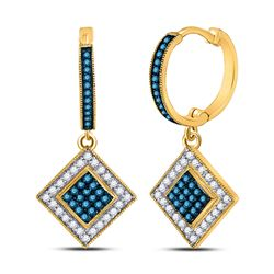 1/2 CTW Womens Round Blue Color Enhanced Diamond Square Dangle Earrings 10kt Yellow Gold - REF-27H3R