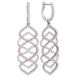 1 & 3/8 CTW Womens Round Diamond Wave Dangle Earrings 18kt White Gold - REF-190M8F
