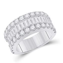 3 CTW Womens Baguette Diamond Anniversary Ring 14kt White Gold - REF-283M6F