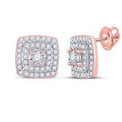 1/4 CTW Womens Round Diamond Square Earrings 10kt Rose Gold - REF-27V3Y